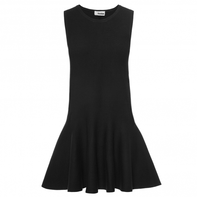 TIANTIAN Black Sleeveless Knitted Skater Dress