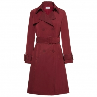 Burgundy Double Breasted Belted Trench Coat