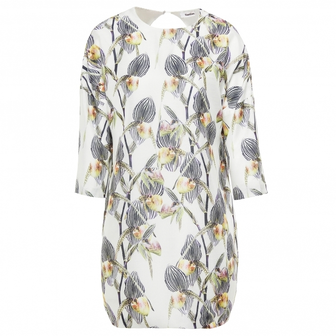 TIANTIAN Floral Print Open Back Cocoon Shift Dress