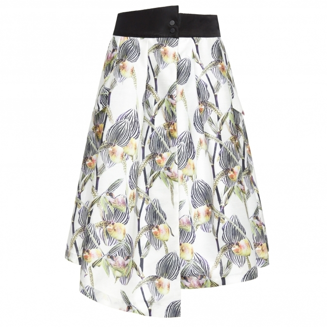 TIANTIAN Floral Print Wrap Skirt with Slit
