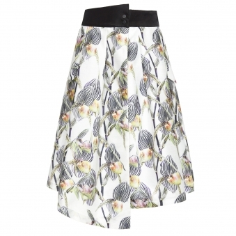 Floral Print Wrap Skirt with Slit