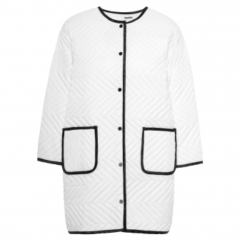 White Chevron Quilted Coat