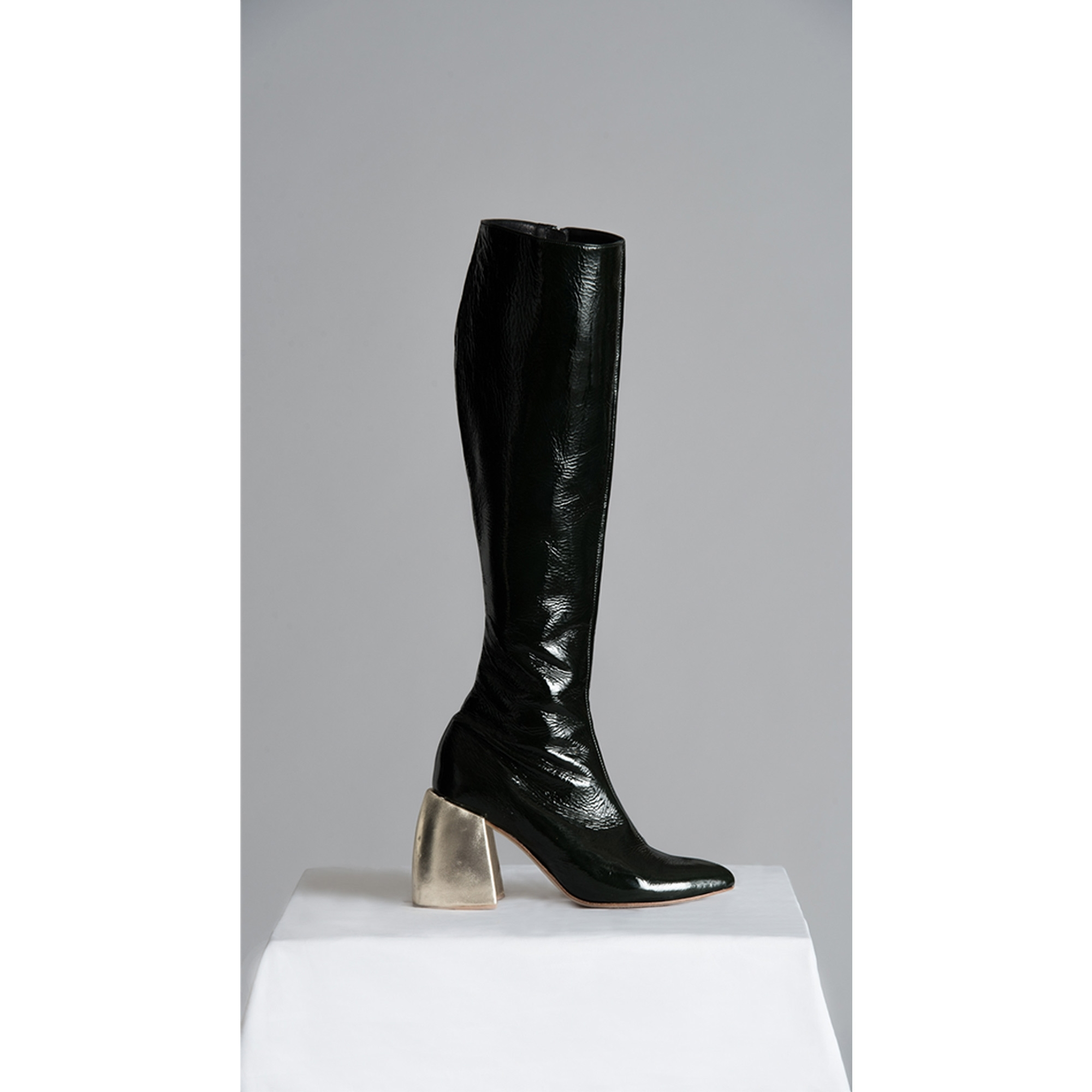 Made To Order Black Knee High Leather Boots With Wooden Heels