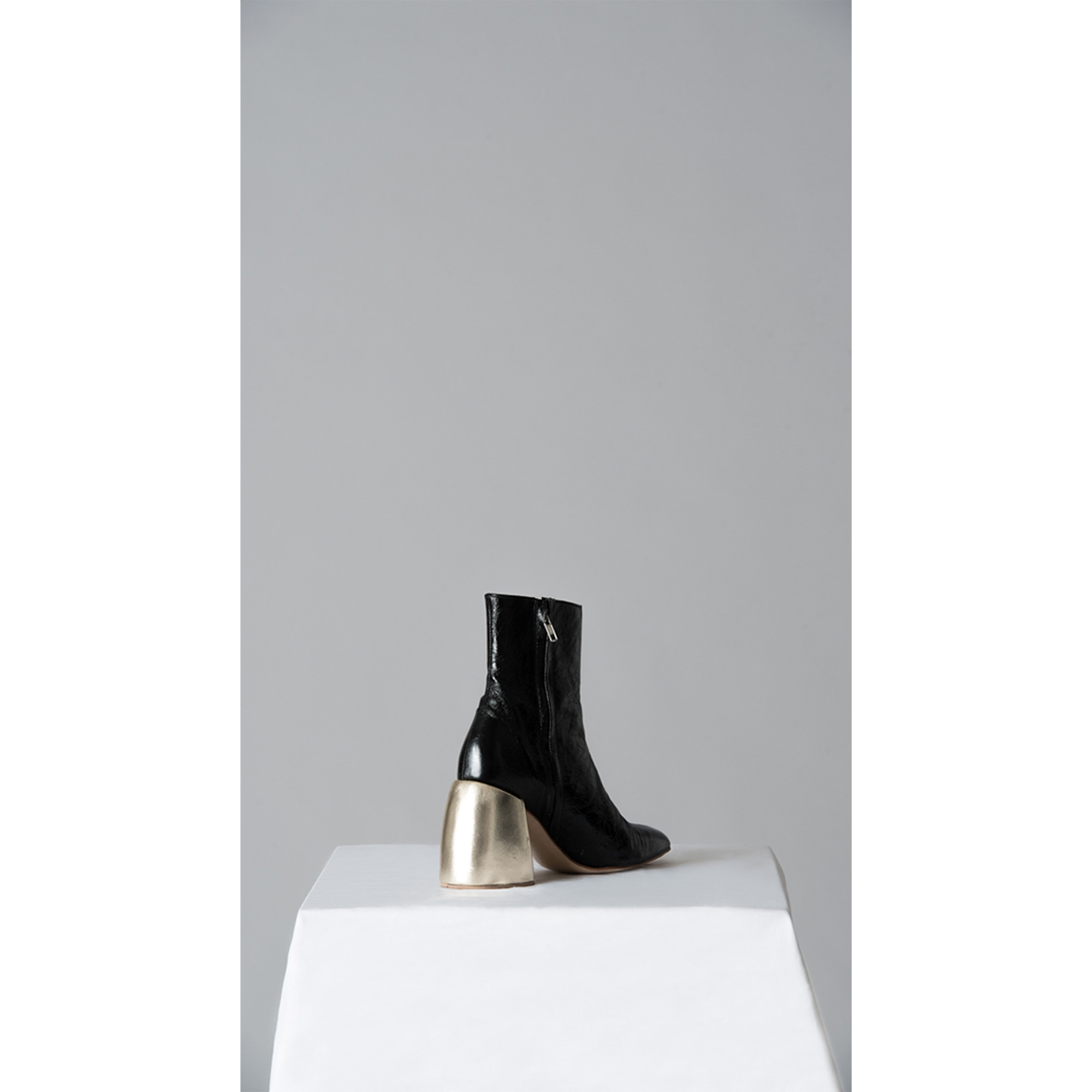 Made To Order Black Leather Ankle Boots With Wooden Heels