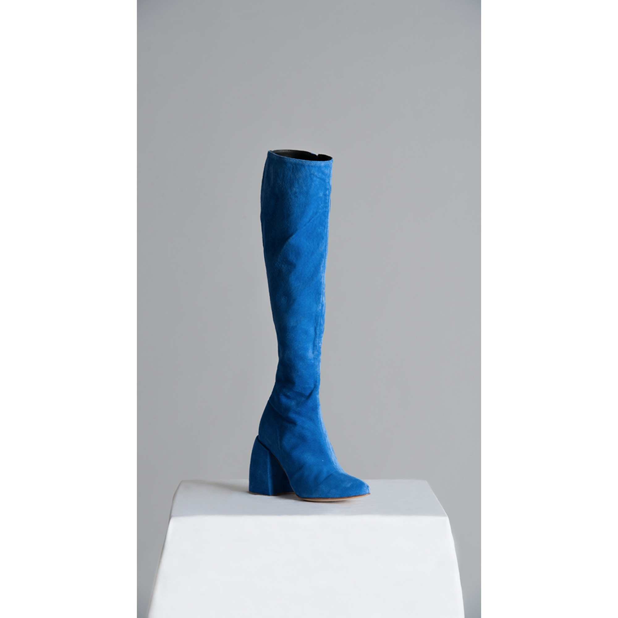 a6a4888af27 VINCENT LAPP Made to Order Blue Knee-high Suede Boots with ...