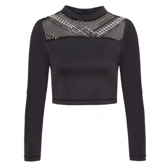 Black Crop Top with Reflective ZigZag Thread Detail