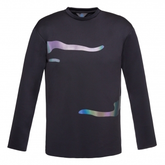 Black Long Sleeve Shirt with Flash Reactive Trim