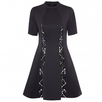 Black Reflective Ribbon Dress