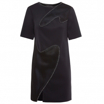 Black Reflective Trim Dress with Mesh Overlay Detail