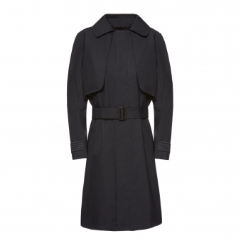 Black Trench Coat with Flash Reactive Cuff Straps