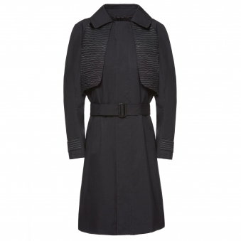 Black Trench Coat with Flash Reactive Line Motif