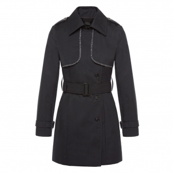 Black Trench Coat with Reflective Trim