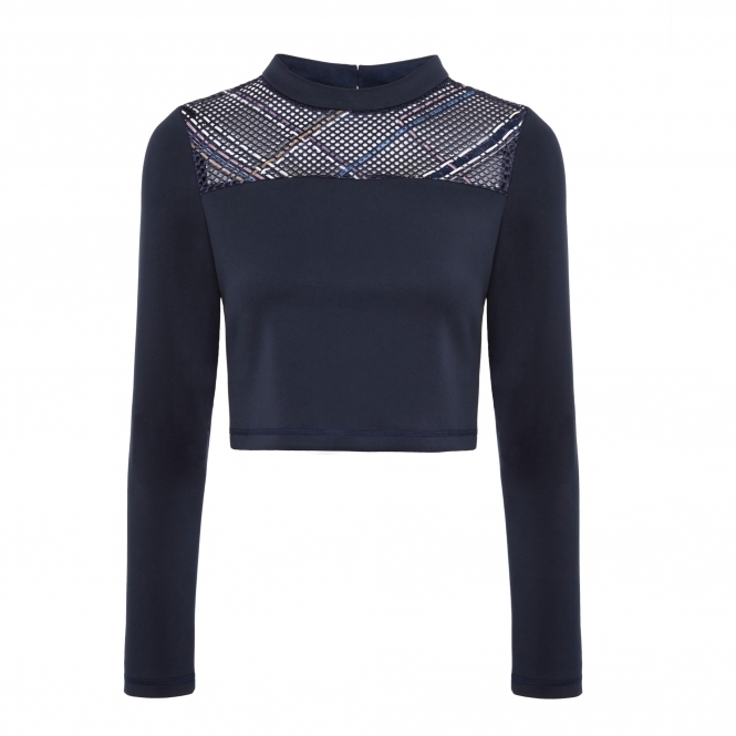 WANGLILING Blue Crop Top with Reflective ZigZag Thread Detail