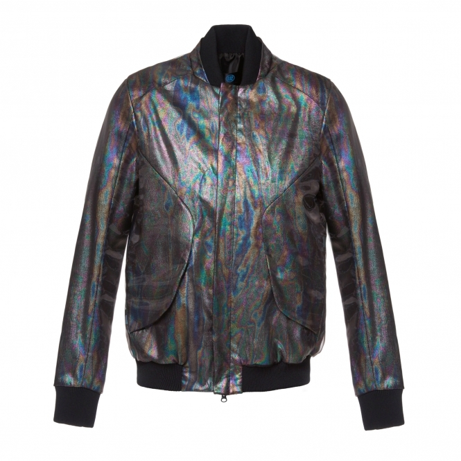 WANGLILING Flash Reactive Rainbow Oil Effect Bomber Jacket