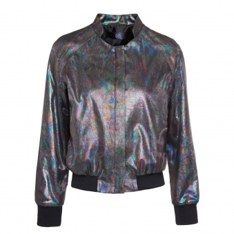 Rainbow Oil Effect Bomber Jacket