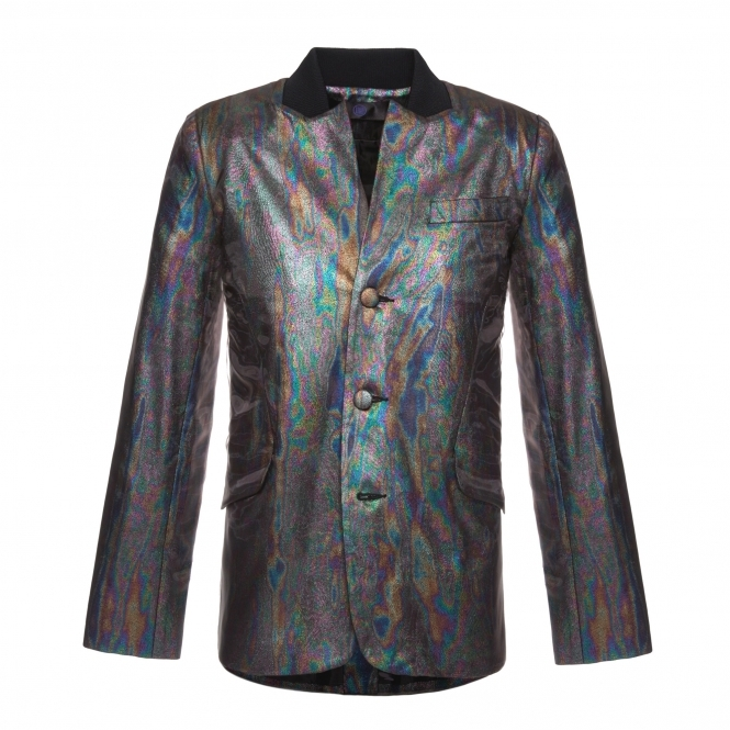 WANGLILING Rainbow Oil Effect Button-Up Jacket