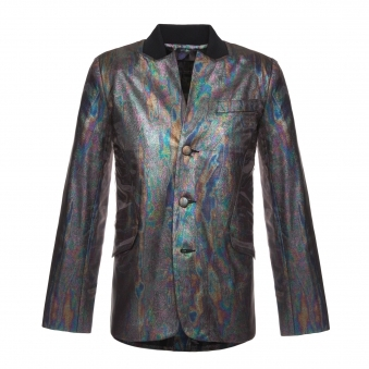 Rainbow Oil Effect Button-Up Jacket