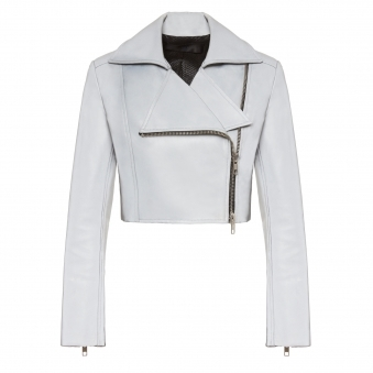 Silver Cropped Reflective Moto Jacket