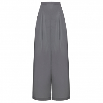 Silver Reflective Wide-Leg Pants
