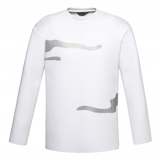 WANGLILING White Long Sleeve Shirt with Flash Reactive Trim