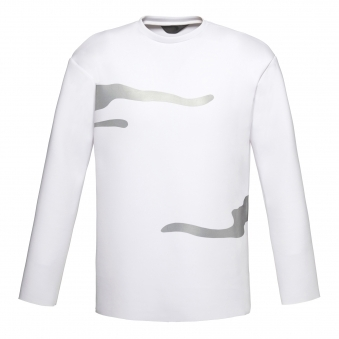 White Long Sleeve Shirt with Flash Reactive Trim