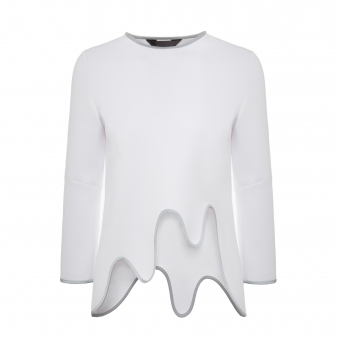 White Scalloped Hem Reflective Trim Top