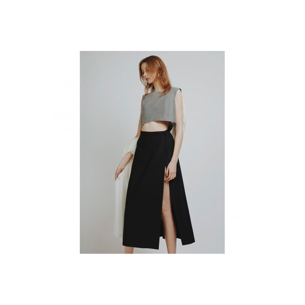 XIAOQIAN SHAO Black Wrap Midi Skirt - WOMEN from Fashion Crossover ...