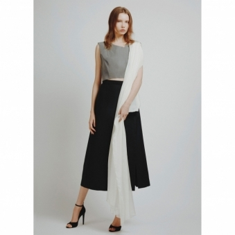 Sleeveless Reflective Crop Top with Sash